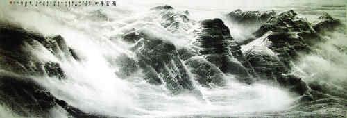 许钦松的山水作品《岭云带雨》。