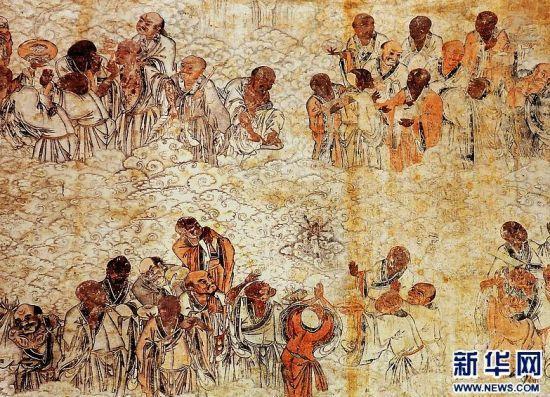 """少林寺千佛殿内墙上的明代壁画""""五百罗汉朝毗卢"""""""