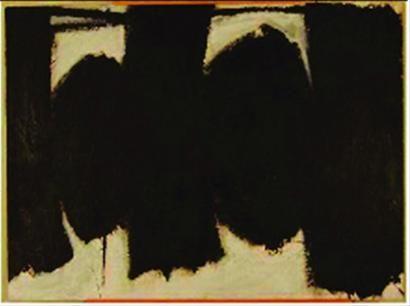 """这幅""""美国抽象表现主义画家罗伯特・马瑟韦尔作品"""",后证实出自钱培琛。"""