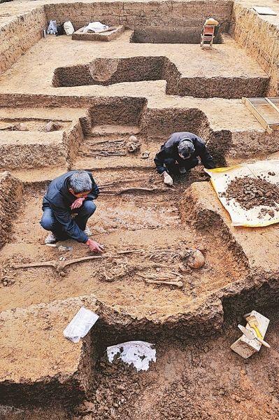 考古人员在舞阳贾湖新石器时代遗址第八次发掘现场工作。图片来源:新华社 河南文物网