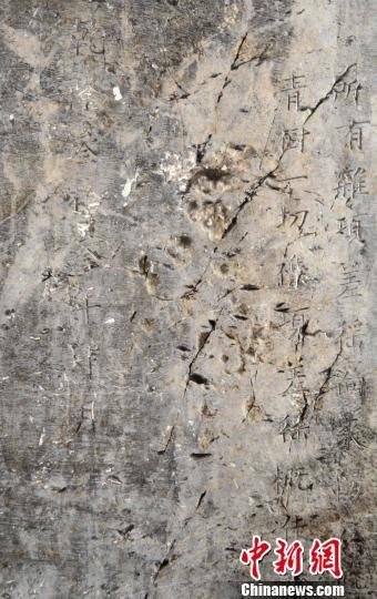 圖為洛社發現的乾隆三十三年四月年間石碑局部內容。 李鴻生 攝