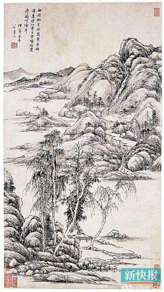 王时敏 仿倪云林山水图轴 广州艺术博物院藏