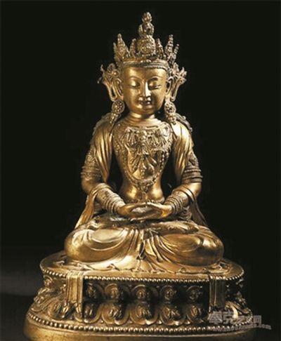 康熙年制铜鎏金佛像