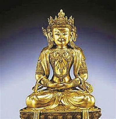 明宣德制鋈金铜无量寿佛坐像