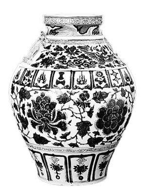 在今年中国嘉德春拍会上,一件元代的青花缠枝牡丹纹摩羯鱼耳大罐以3622.5万元成交。