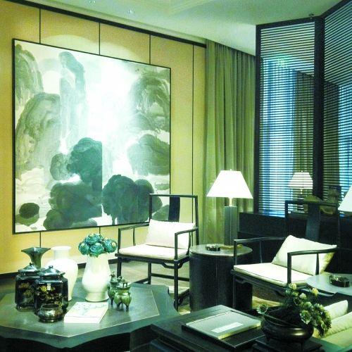 佘文涛陈设设计作品,背景墙上的抽象水墨画是点睛之笔
