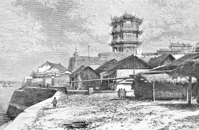 彩色的凸版黄鹤楼明信片1903年,一枚从汉口寄往法国的明信片 (图