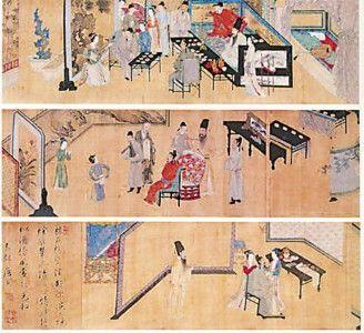 唐伯虎临摹的《韩熙载夜宴图》局部。