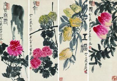 齐白石 花卉 四屏镜心 100厘米×34.5厘米×4 1947年(中国嘉德供图)