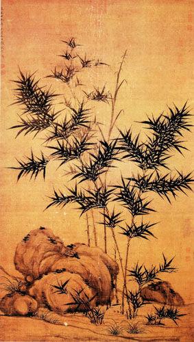 元顾安《竹石图》轴   至正十九年(1359年)作