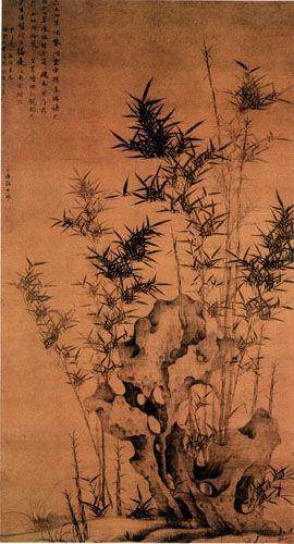 《幽篁秀石图》轴 纵184厘米 横102厘米 北京故宫博物院藏