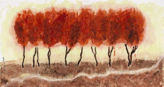 《烟淡烟浓远近秋》,2012,纸本水墨画,180x97
