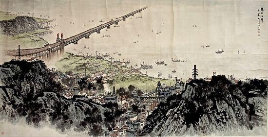 宋文治作品《扬子江畔》(1.43m×2.75m)