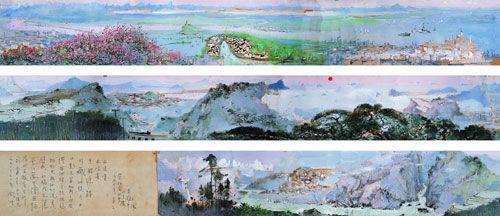 吴冠中-长江万里图-油彩-纸本22.5x509cm-1973-1974年