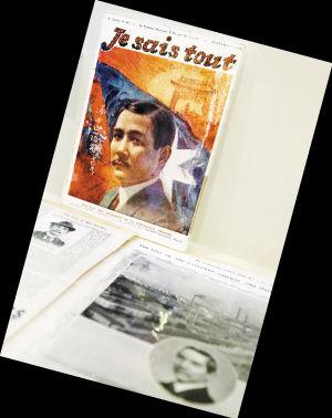 纪念辛亥革命100周年特展在台北孙中山纪念馆举行,图为法国1912年报道孙中山的画刊在特展上展出。