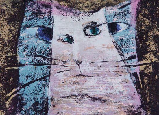 猫家呓语【影子】54x40cm油印网版.2007