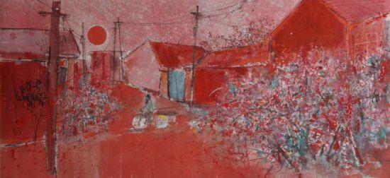 《村落》,宣纸水墨,2011年