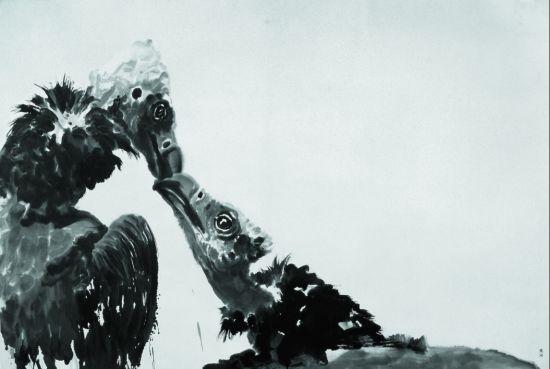 沈沁画作《双鹫》,220x148cm,2009