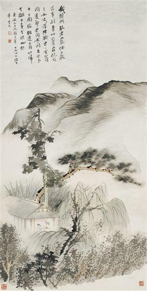 """""""江山萬裡——張大千藝術展""""是中國美術館和臺灣長流美術館合作舉行的,將展出兩館珍藏的100多件張大千的書畫作品。圖為張大千作品《東坡詩意》"""