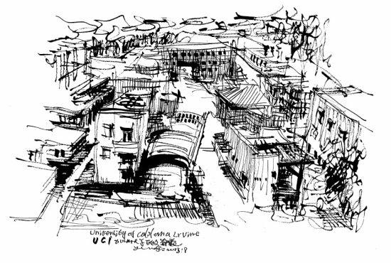 广州建筑黑白手绘
