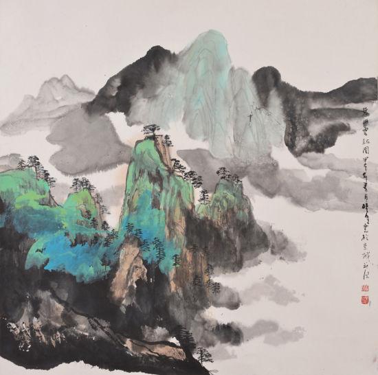 黄山云起图  69cm×69cm  2014年作