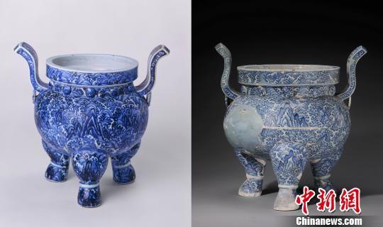 圖中左為故宮博物院藏明永樂青花海水紋雙耳三足爐,右為景德鎮御窯遺址考古出土復原的同時代同樣的器物
