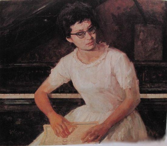俞云阶1963年作《此时无声(钢琴家顾圣婴)》