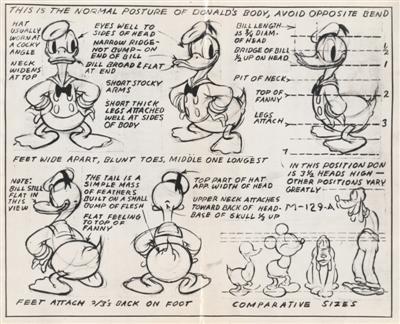 唐老鸭形象创作手稿。