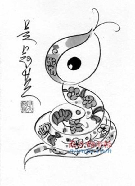 可爱简笔画蛇简单